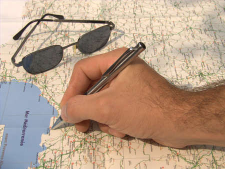 map and hand Stock Photo - 1558023