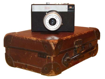 altmodisch photocamera und Leder Fall Isolated on white.