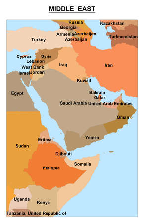 Middle East Map Stock Vector - 2339768