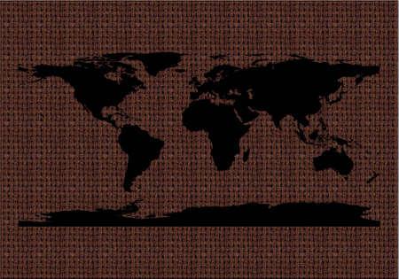 black world map silhouette on braun texture