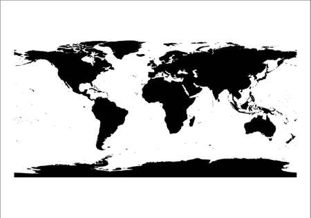 black silhouette world map isolated in white background Illustration