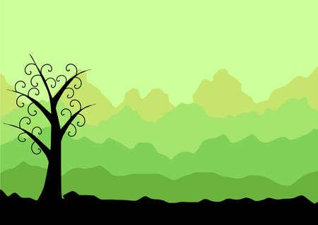 gr�ne Landschaft mit abstrakten Baum