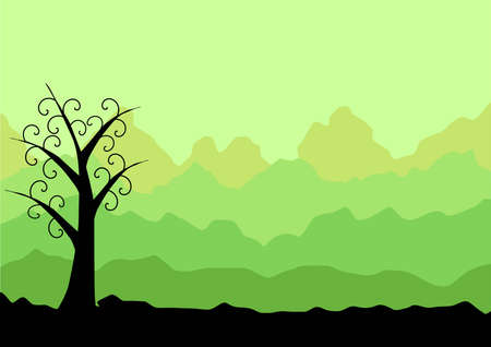 green landscape with abstract tree
