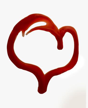 peinture rouge: contour de coeur de la peinture rouge
