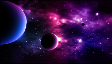 Photorealistic Galaxy background. Vector illustration Ilustrace