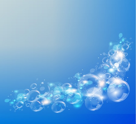 soap reflection: Abstract blue background. Air bubbles Vector illustration.