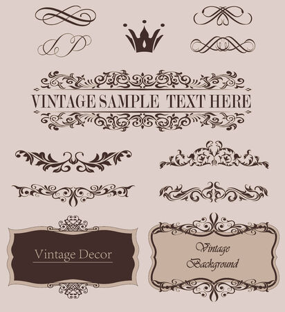 top menu: Vector Set of Calligraphic Design Elements and Page Decoration Dividers.