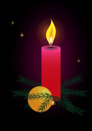 vector raster background: Christmas candle against a dark background. Raster version of a vector