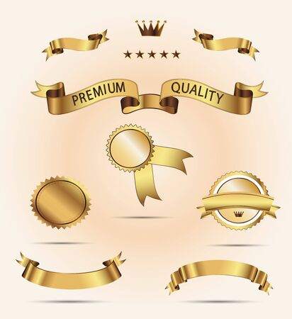 superior: Set of Superior Quality and Satisfaction Guarantee Ribbons, Labels, Tags. Set of golden vector ribbons for your text