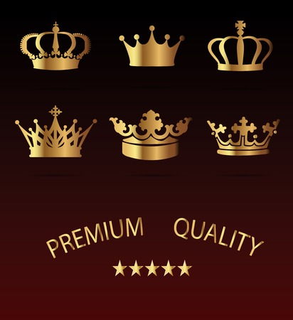 gold silhouette: Crown premium Icons Set - Isolated On Black Background - Vector Illustration, Graphic Design, Editable For Your Design