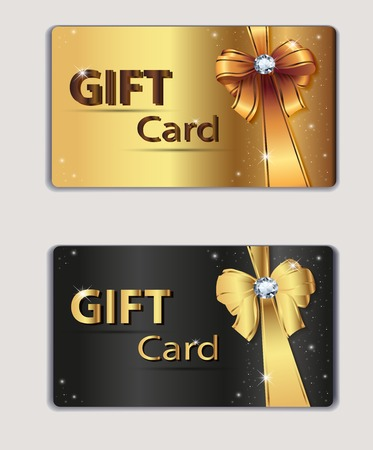 rewards card: Gift coupon, gift card, discount card, business card, gold and black, bow, ribbon. Holiday background design for invitation, ticket. Vector illustration