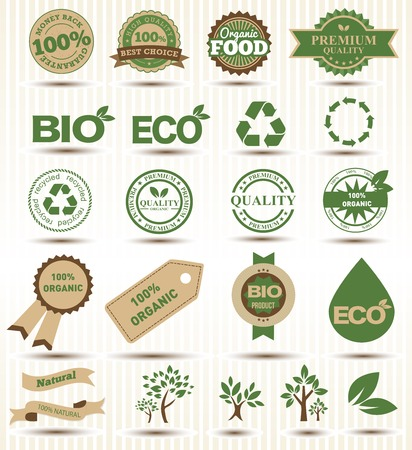 Set vector labels and emblems of ecology and environment.