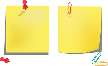 Yellow notice papers isolated on white. Vector illustration