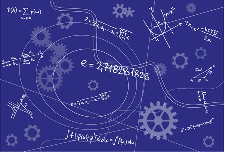 mathematical: Mathematical Geometry Signs On Blue Background with mechanical  elements.