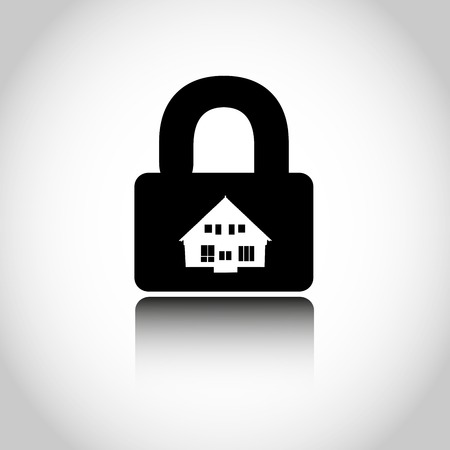 firm: Lock house icon. Closing of firm. Vector illustration Illustration