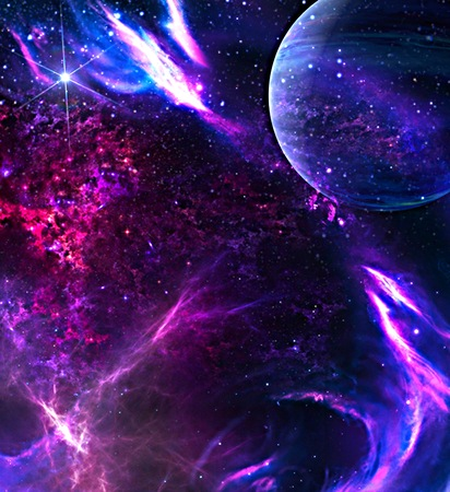 Galaxy background with planet. HD cosmic illustration.