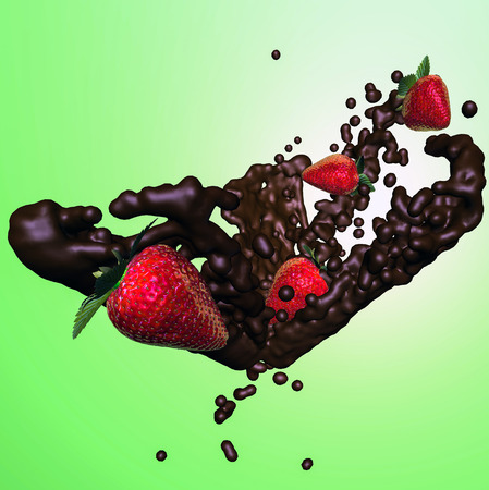chocolate splash: Chocolate splash with for strawberries on green background Stock Photo