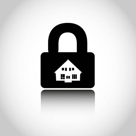 closing: Lock house icon. Closing of firm.  illustration