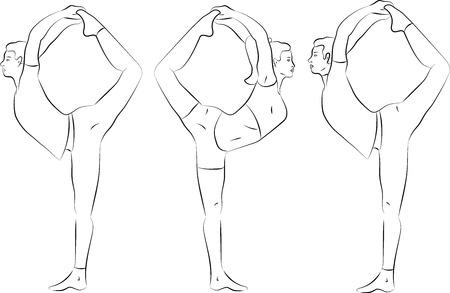 yoga poster: Vector yoga illustration. Yoga set. Yoga exercises. Women yoga. Yoga class, yoga center, yoga studio. Yoga poster. Sketch with yoga asana. Girl does yoga exercises. Healthy lifestyle