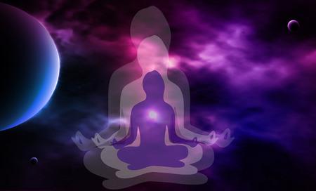 cuerpo hombre: Espacio exterior. Meditaci�n. Silueta de la mujer. Ilustraci�n vectorial