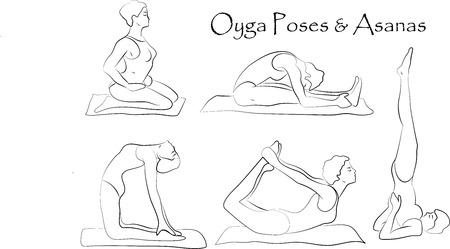 salutation: Vector yoga illustration.  Yoga set. Yoga exercises. Women yoga. Yoga class, yoga center, yoga studio. Yoga poster. Sketch with yoga asana. Girl does yoga exercises. Healthy lifestyle Illustration