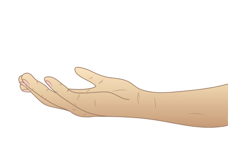 raise the thumb: The hand given palm up. Vector illustration.