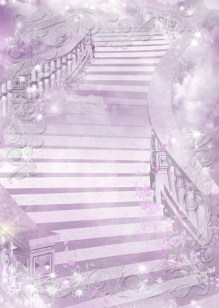 astral: Purple gentle colourful illustration of a ladder - astral and flower theme. Vector background.