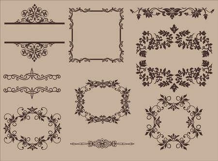 embellish: Vintage design elements vector set. Lots of useful elements to embellish your layout Illustration