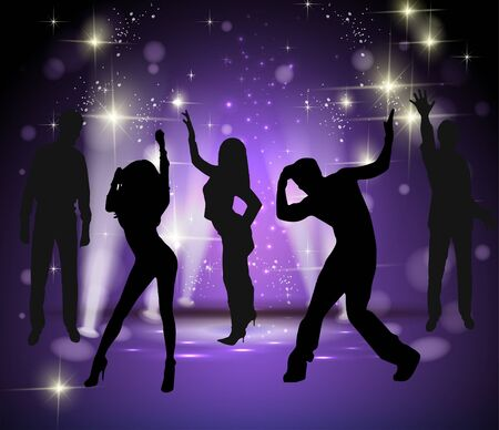 clubber: Background with dancing people.  illustration