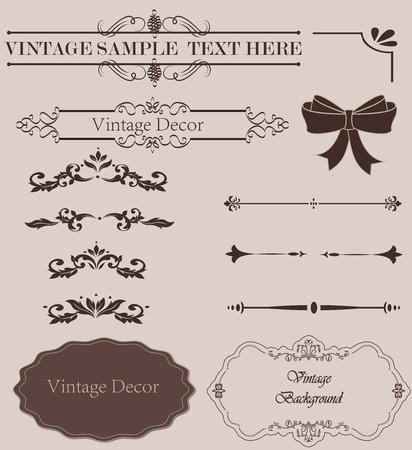 leaves frame: Vintage design elements  set. Lots of useful elements to embellish your layout Stock Photo