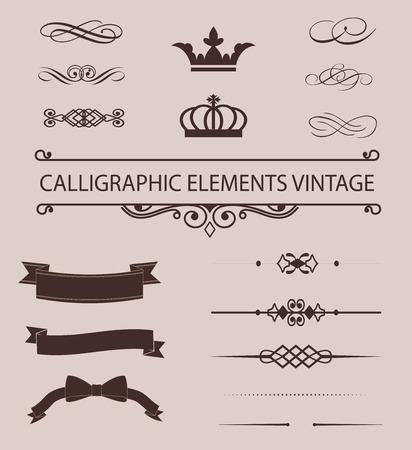 embellish: Vintage design elements  set. Lots of useful elements to embellish your layout Stock Photo