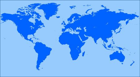 Blue World map blank. World map vector. Banco de Imagens - 56499485