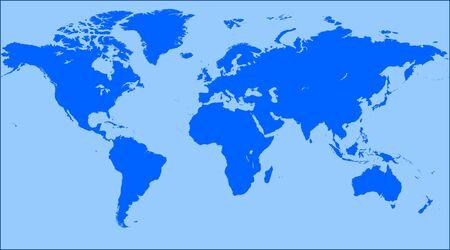 ocea: Blue World map blank. World map vector.
