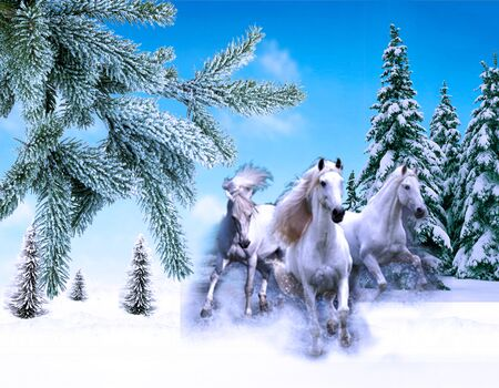 The three of white horses jump on the snow-covered wood. Winter illustration Stock Photo