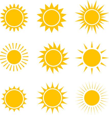黄色い太陽アイコンのコレクション。光のベクトル図です。  イラスト・ベクター素材