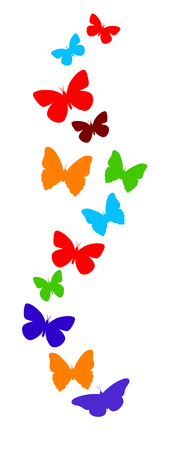 manipulation: Spring butterfly colorful composition. Vector illustration layered for easy manipulation and custom coloring
