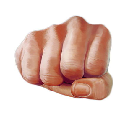 directly: Colored illustration of a punching hand with a clenched fist aimed directly at the viewer isolated on white.