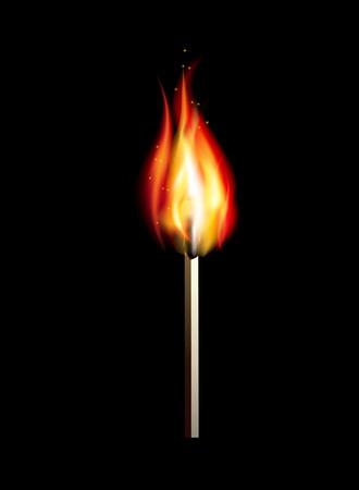 glow stick: Burning match on a black background for design. illustration Illustration