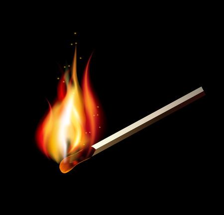 Burning match on a black background for design. illustration Ilustração