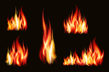 Fire flame strokes realistic isolated on black background illustration. Imagens