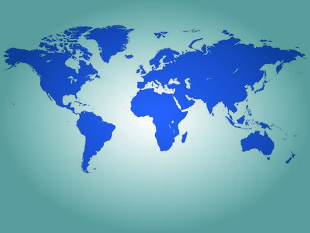 Image of a world map with a colorful blue background