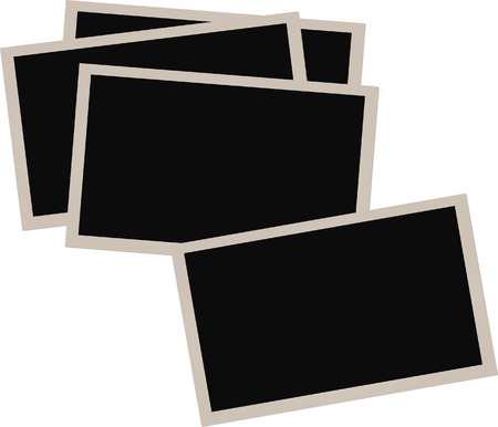 Pile of old photographs isolated on white background.