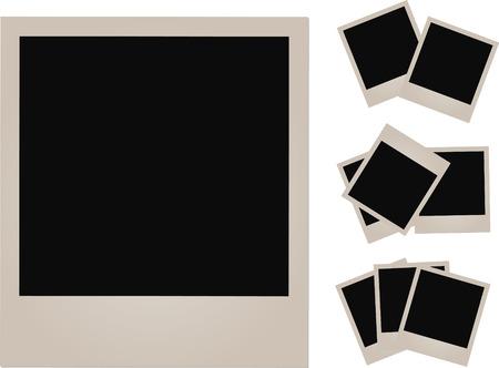 Set of empty photos on white background. Ilustração
