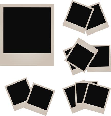 Retro photo frame isolated on white background. illustration. Ilustração