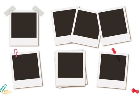Photo frames retro instant picture black cards  illustration Imagens