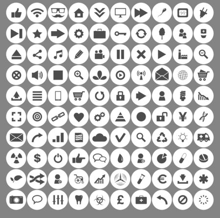 100 icon set circle. Icons for social networking illustration in flat. Imagens