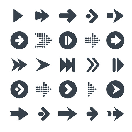 Arrow sign icon set. Simple circle shape internet button on gray background. Contemporary modern style. This illustration web design elements saved.