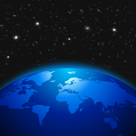 Creative abstract global communication scientific concept: space view of Earth planet globe with world map in Solar System of Universe. Ilustração