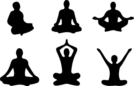 positions: Yoga Positions. Silhouettes black icon. illustration