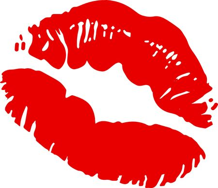 Big red lips track on white background.